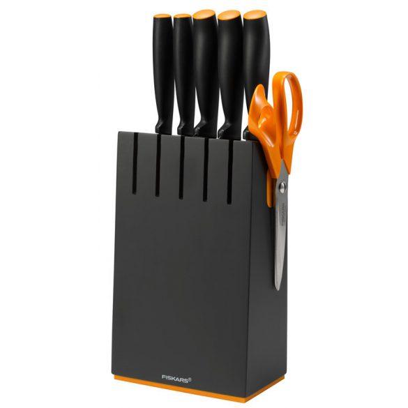 Fiskars Functional Form késblokk 5 késsel fekete Ajándék köténnyel