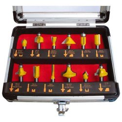 Extol 12 részes keményfém lapkás felsőmaró készlet alu kofferben 8mm-es befogással