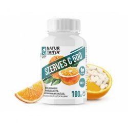 Natur Tanya Szerves C 500 – Kétféle C-vitamin és citrus bioflavonoidok gyomorkímélő rágótablettában, narancs ízben 100 db