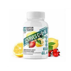 Natur Tanya Szerves C+D+K - Retard 1000mg C-vitamin, 2000IU D3-vitamin, 30 µg természetes natto fermentációjából származó K2-vitamin, csipkebogyó kivonat és citrus bioflavonoidok