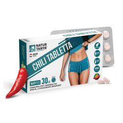Natur Tanya Chili tabletta - Szabadalommal védett standardizált kapszaicinoidok, cikória gyökér inulin és zöld tea polifenolok, a testsúlycsökkentés támogatásáért.