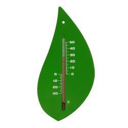 Kültéri műanyag hőmérő zöld falevél forma 15x8x0,3cm