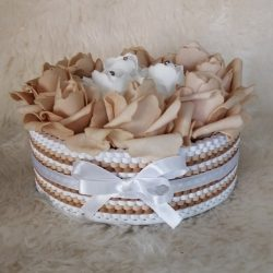Rózsabox nagy kerek rózsa doboz barna-fehér