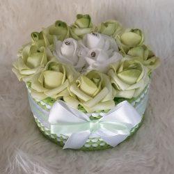 Rózsabox kis rózsa doboz zöld-fehér