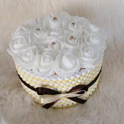 Rózsabox kis rózsa doboz citromsárga-fehér