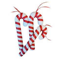 Karácsonyi dísz cukorka piros - fehér 3db