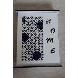 Home feliratos nagy kulcstartó nyitható doboz fehér-lila