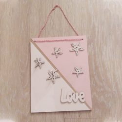 Falra akasztható kulcstartó rózsaszín-fehér